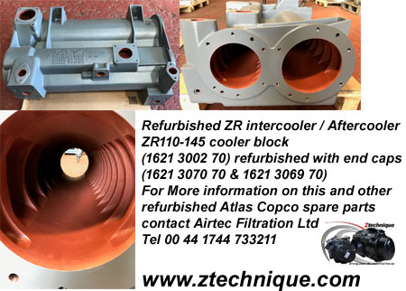 ZR110-145 cooler block  (1621 3002 70) refurbished with end caps (1621 3070 70 & 1621 3069 70)